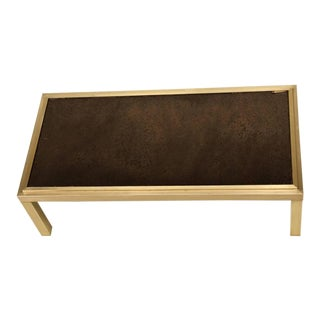 French Brass and Mirror Coffee Table, circa 1960s For Sale