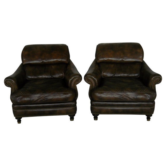 Custom Leather Chairs by Hancock & Moore - A Pair - Image 1 of 10
