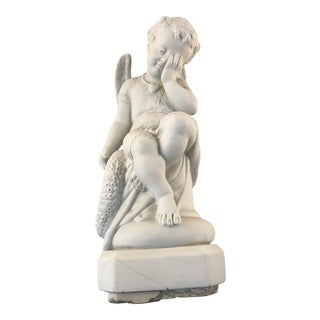 Mid 19th Century Parianware Porcelain Memorial Angel Child Putti Statue For Sale