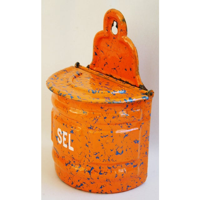 1940s French Marbleized Enameled Sel/Salt Holder - Image 3 of 7