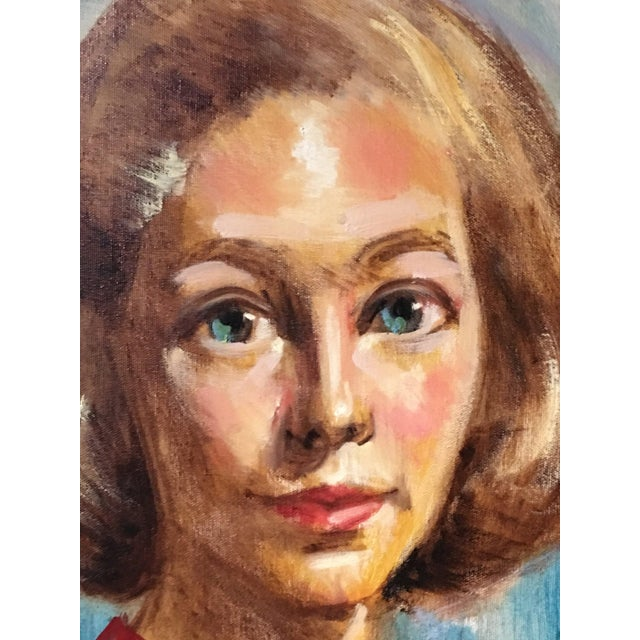 1950s 1950s Mid Century Modern Female Portrait Painting Vintage For Sale - Image 5 of 11