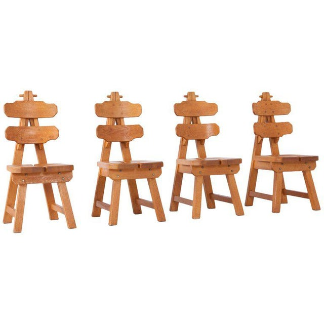 Brutalist Oak Spanish Dining Chairs For Sale - Image 13 of 13