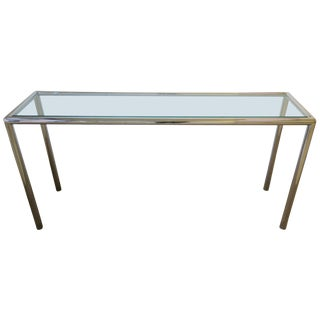 Modern Chrome and Glass Console Table For Sale