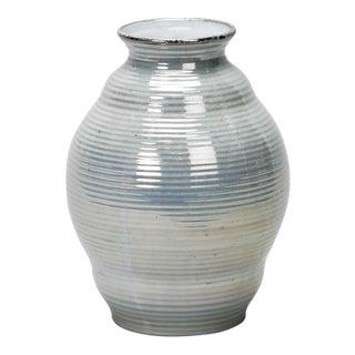Deco Era Boch Freres Blue Luster Ridged Ceramic Vase