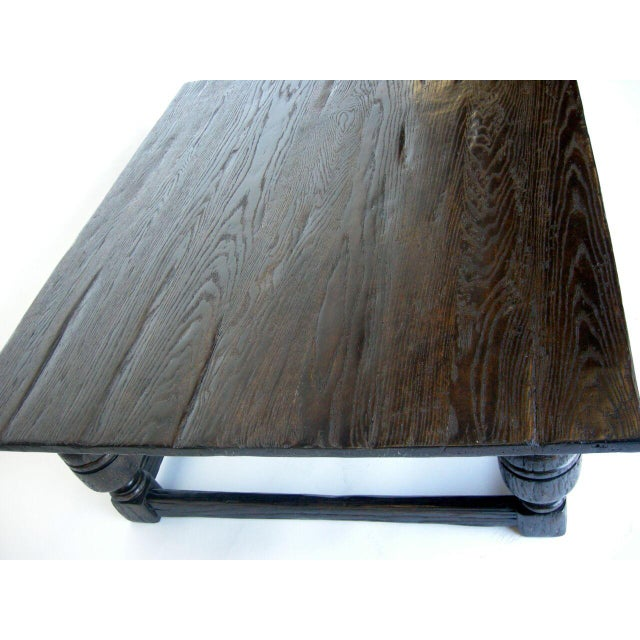 Custom Oak Wood Baroque Style Coffee Table - Image 5 of 6