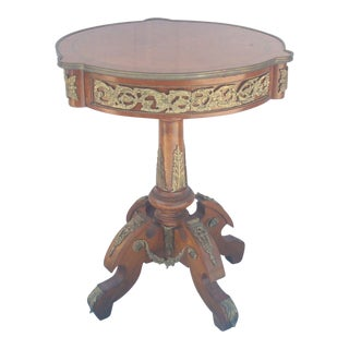 French Style Round Mahogany Pedestal Lamp Table with Ormolu Mounts For Sale