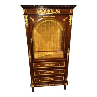 Antique French 19th C Louis Xvi Dore Bronze Mounted Marble Top China Cabinet Vitrine Curio
