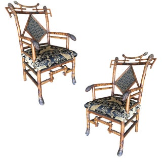 19th Century Aesthetic Movement Bamboo Salon Chair - a Pair For Sale