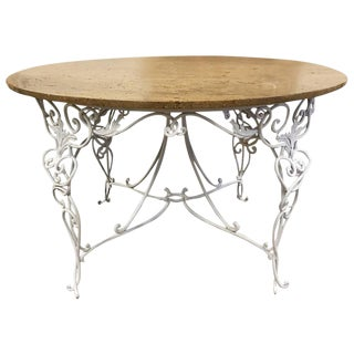 1930s French Wrought Iron Center Table with Travertine Top