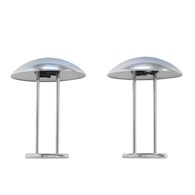 Pair of Chrome Dome Shape Shades Table Lamps For Sale