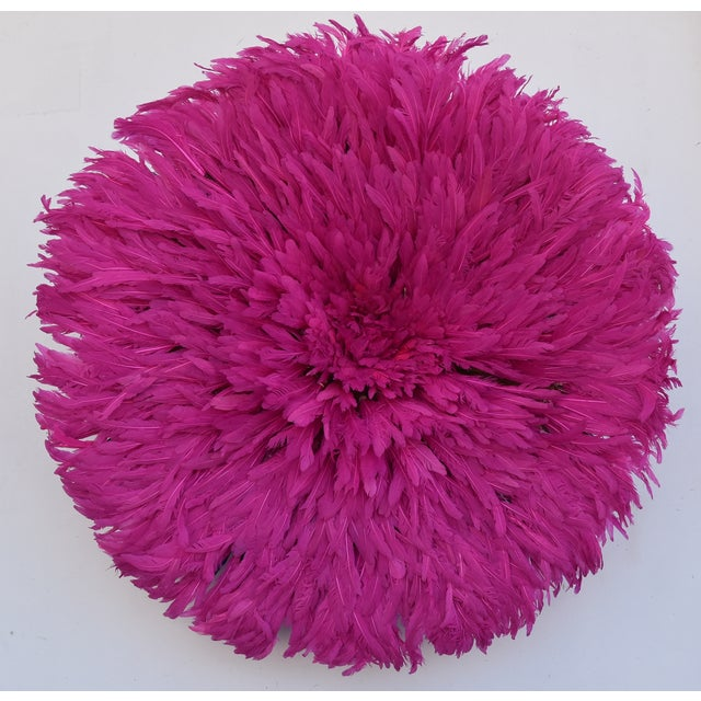 """Large 30"""" Pink African Feather Juju Hat Wall Hanging For Sale In Los Angeles - Image 6 of 8"""