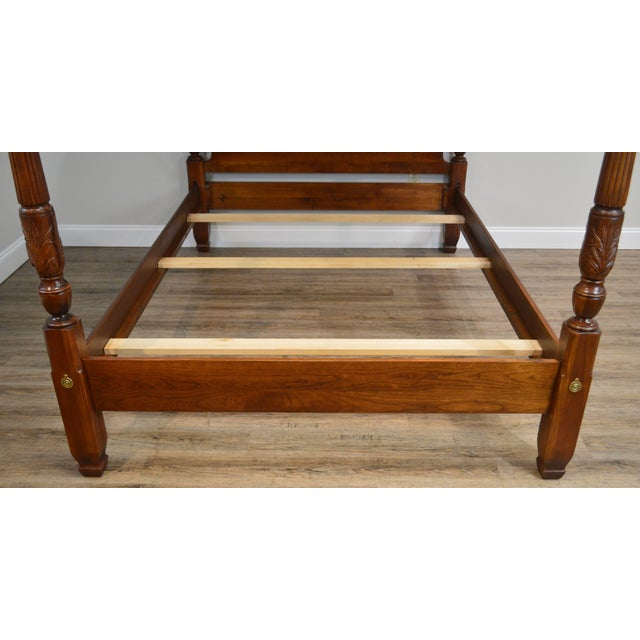 Wood Harden Cherry Queen Size Poster Bed With Custom Canopy For Sale - Image 7 of 13