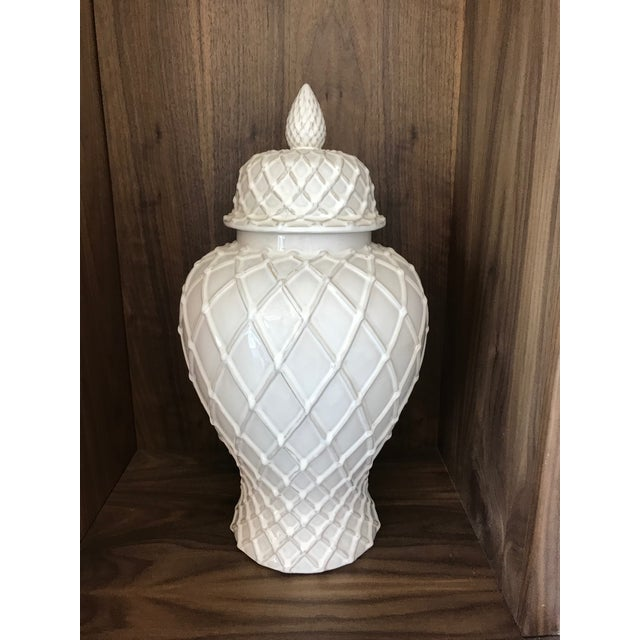 Exquisite Blanc De Chine Lidded Vase With Lattice Design, Italy For Sale - Image 12 of 12