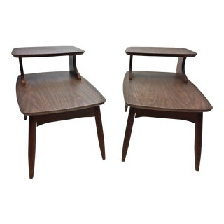 Mid Century Modern Brown Wood Step Tables - A Pair