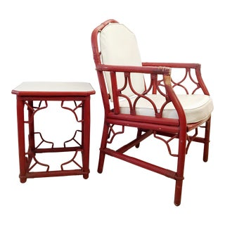 Vintage Chinese Chippendale Bamboo Bentwood Armchair with Table