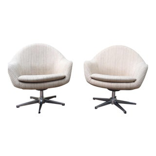 Overman Mid-Century Pod Swivel Chairs - a Pair