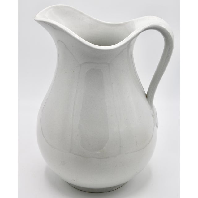 Large Vintage White Ironstone Ceramic Pitcher For Sale - Image 10 of 10