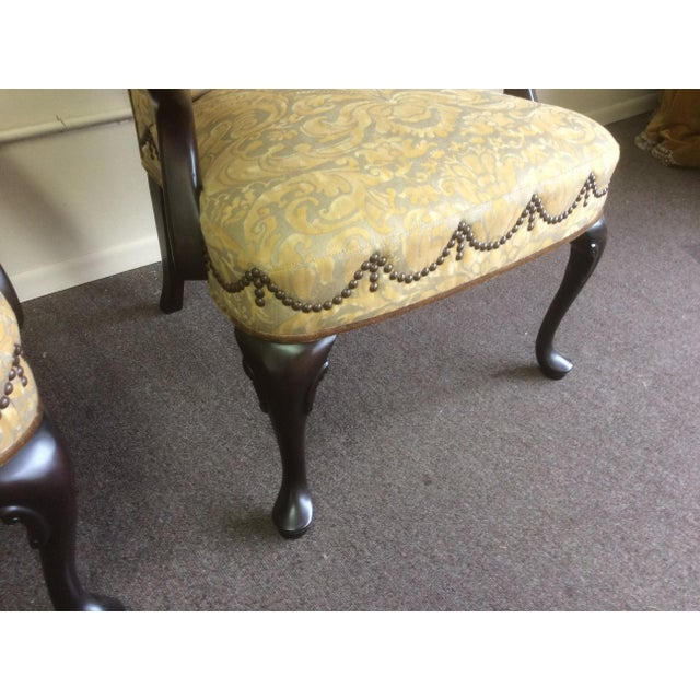 American English Style Arm Chairs With Fortuny Upholstery - a Pair For Sale - Image 3 of 12