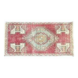 Vintage Turkish Handmade Decorative Red Small Rug For Sale
