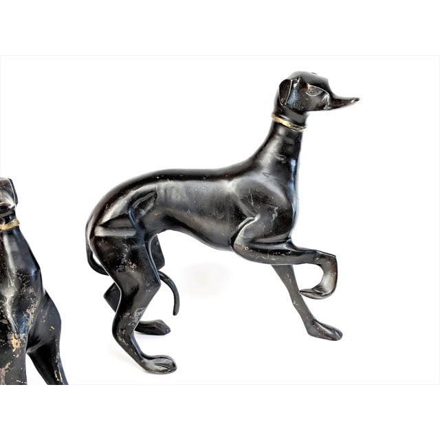 Bronze Greyhound Dog Statues - Set of 3 For Sale - Image 4 of 11