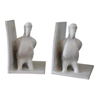 1970s Bruno Gambone Glazed Ceramic Parrot Bookends - a Pair For Sale