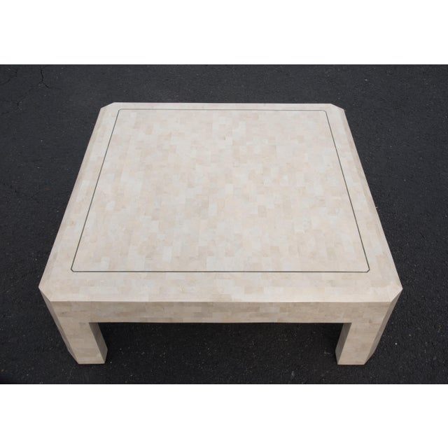 Maitland - Smith 1980s Hollywood Regency Maitland Smith Ivory Stone Coffee Table For Sale - Image 4 of 7