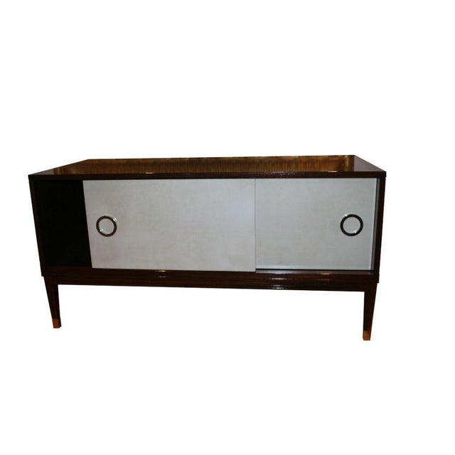 2010s Ryan Parchment Door Rosewood Console For Sale - Image 5 of 10