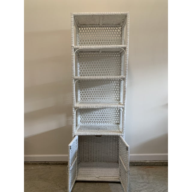 Vintage Tall Rustic White Wicker Rattan Cabinet Shelf With Bottom Dual Magnetic Stay Shut Doors For Sale In Lexington, KY - Image 6 of 8