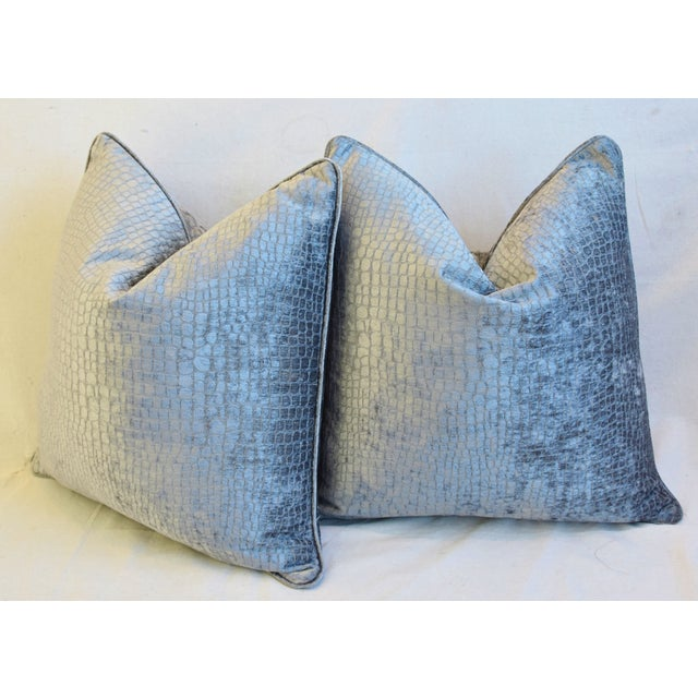 """Gray/Silver Crocodile Alligator Textured Feather/Down Velvet Pillows 23"""" Square - Pair For Sale - Image 9 of 12"""
