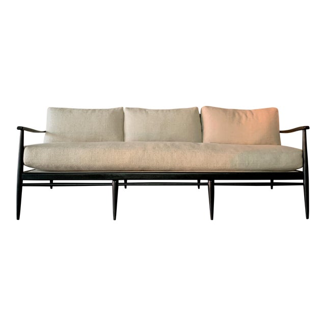 Wood Danish MCM - Black Wood and Woven Cane Sofa in Belgian Linen For Sale - Image 7 of 7
