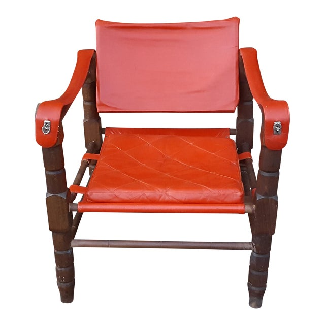 Red Leather Sling Safari Chair For Sale