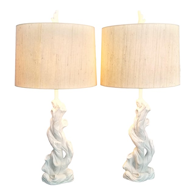 Faux Bois Solid White Plaster Tree Table Lamps -A Pair - Authentic 1950s - Serge Roche Style - Palm Beach Boho Chic For Sale