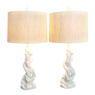 Faux Bois Solid White Plaster Tree Table Lamps -A Pair With Original Finials - Authentic 1950s - Serge Roche Style - Palm Beach Boho Chic For Sale