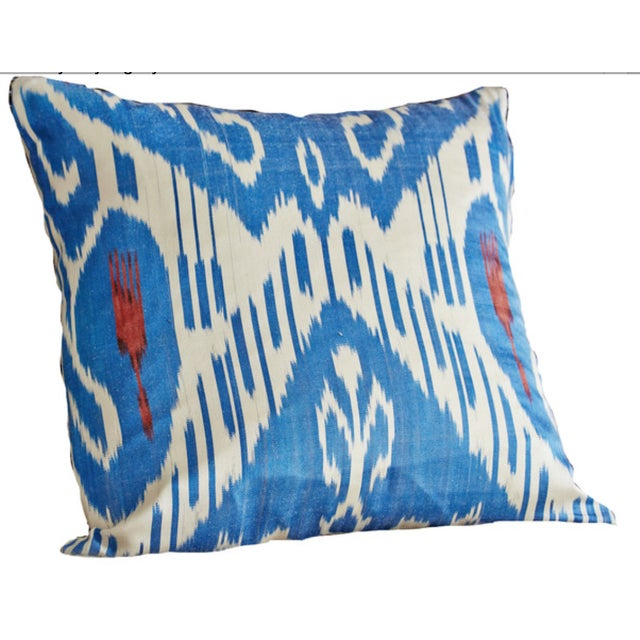 Blue Ikat Pillow Covers - A Pair - Image 2 of 4