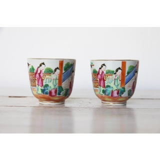 19th Century Chinese Export Famille Rose Mandarin Porcelain Cups - a Pair Preview