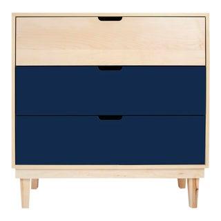 Nico & Yeye Kabano Modern Kids 3 Drawer Dresser Maple Deep Blue For Sale