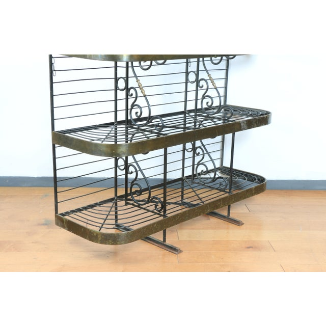 Wrought Iron and Brass Bakers Rack For Sale - Image 9 of 10