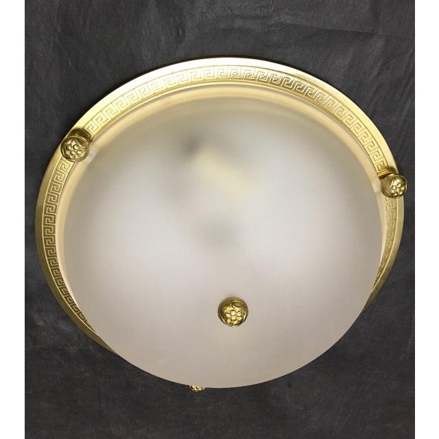 Hollywood Regency Vaughan Regency Style Brass Greek Key Flush Mount For Sale - Image 3 of 6