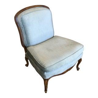 Baker Blue Velvet Slipper Chair For Sale