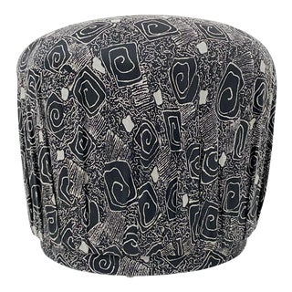 Black and White Pouf Ottoman For Sale