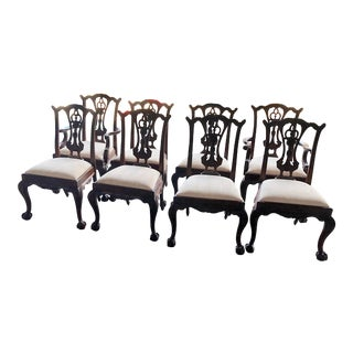 1980s Vintage Maitland-Smith Chippendale Style Dining Chairs - Set of 8 For Sale