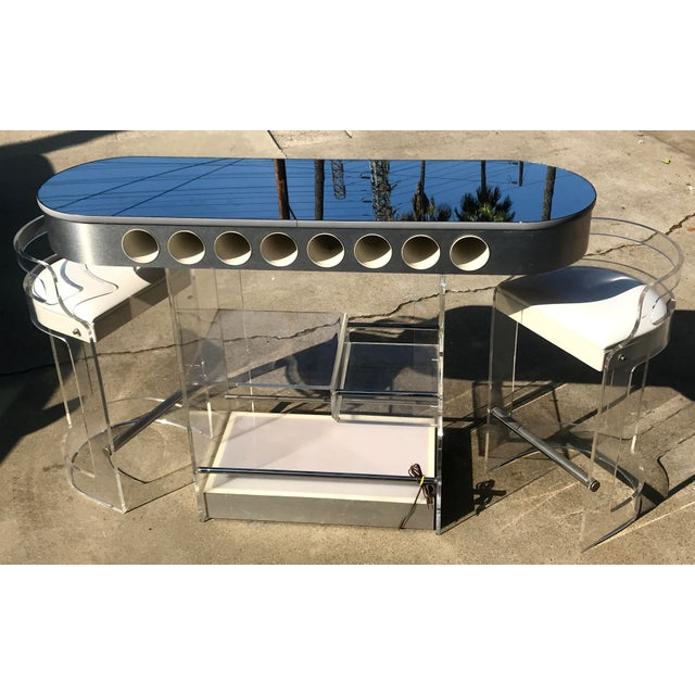 Mid-Century Modern 1970s Lucite Bar With Stools by Hill Mfg For Sale - Image 3 of 7