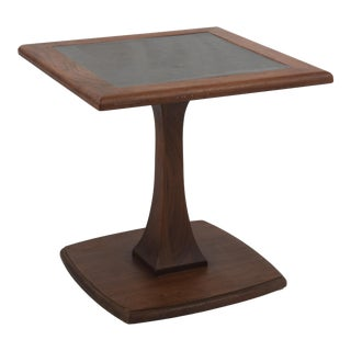 1960s Mid-Century Modern Pedestal Table Solid Walnut Square Center Table For Sale