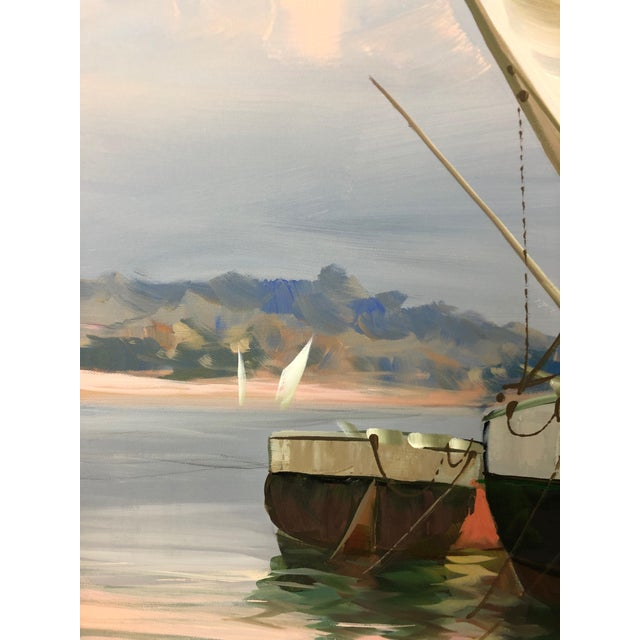 A large very impressive powerfully rendered painting on canvas of boats moored in a harbor. Skillful brushstrokes of...