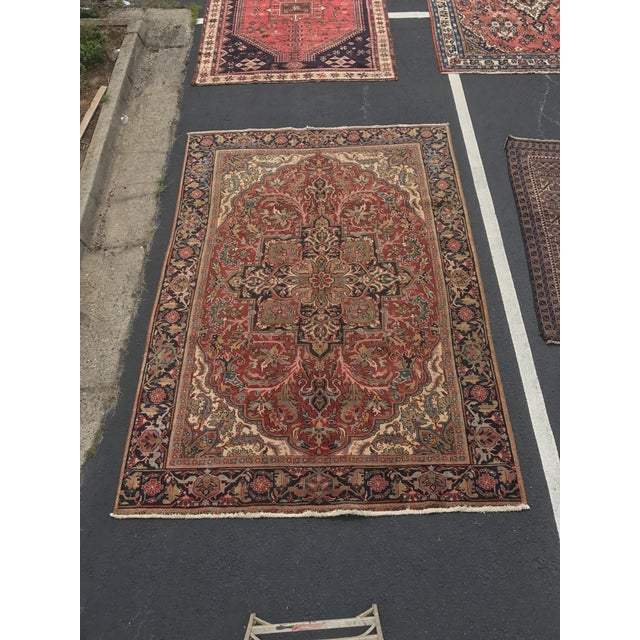 """Thick & Hearty Vintage Persian Ahar Area Rug - 7'3"""" x 10'5"""" - Image 2 of 11"""