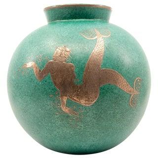 Gustavsberg Argenta Silver Overlay Mermaid Blue Green Ceramic Vase For Sale