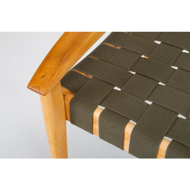 American-Made Maple Bench With Woven Seat by Tom Ghilarducci For Sale - Image 12 of 13