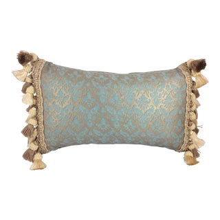 Fortuny Aqua Silk & Down Filled Pillow For Sale