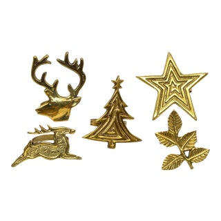 Holiday Brass Napkin Rings - Set of 5