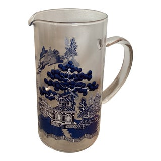 Blue Willow Glass Pitcher For Sale